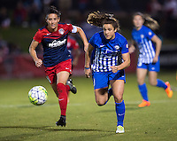 Boyds, MD - April 16, 2016: Boston Breakers forward Stephanie McCaffrey (9) and Washington Spirit defender Ali Krieger (11). The Washington Spirit defeated the Boston Breakers 1-0 during their National Women's Soccer League (NWSL) match at the Maryland SoccerPlex.