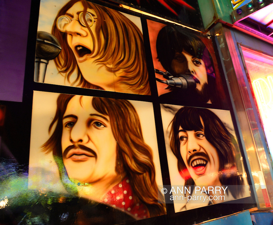 Airbrush illustrations of the Beatles, John, Paul, George, and Ringo, decorate the front of the Planet Rock & Roll ride, during the first day of the annual Herricks Community Fund Spring Carnival, which raises funds for programs that enrich the community and school district. The Long Island carnival runs through June 2.