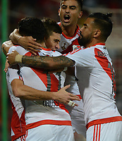 MEDELLÍN -COLOMBIA-15-03-2017. Lucas Alario jugador de River celebra con sus  compañeros el primer gol anotado al Medellin, durante partido de la fase de grupos, grupo 3, fecha 1 entre Deportivo Independiente Medellin de Colombia y River Plate de Argentina por la Copa Conmebol Libertadores Bridgestone 2017 en el Estadio Atanasio Girardot, de la ciudad de Medellin. / Lucas Alario player of River celebrates with his team mates the first goal scored to Medellin during a match for the group stage, group 3 of the date 1, between Deportivo Independiente Medellin of Colombia and River Plate of Argentina for the Conmebol Libertadores Bridgestone Cup 2017, at the Atanasio Girardot, Stadium, in Medellin city. Photo: VizzorImage/ Leon Monsalve /Cont