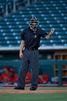 Home plate umpire Sean Sparling asks for new baseballs during an Arizona League game between the AZL Angels and AZL Cubs 1 on June 24, 2019 at Sloan Park in Mesa, Arizona. AZL Cubs 1 defeated the AZL Angels 12-0. (Zachary Lucy / Four Seam Images)