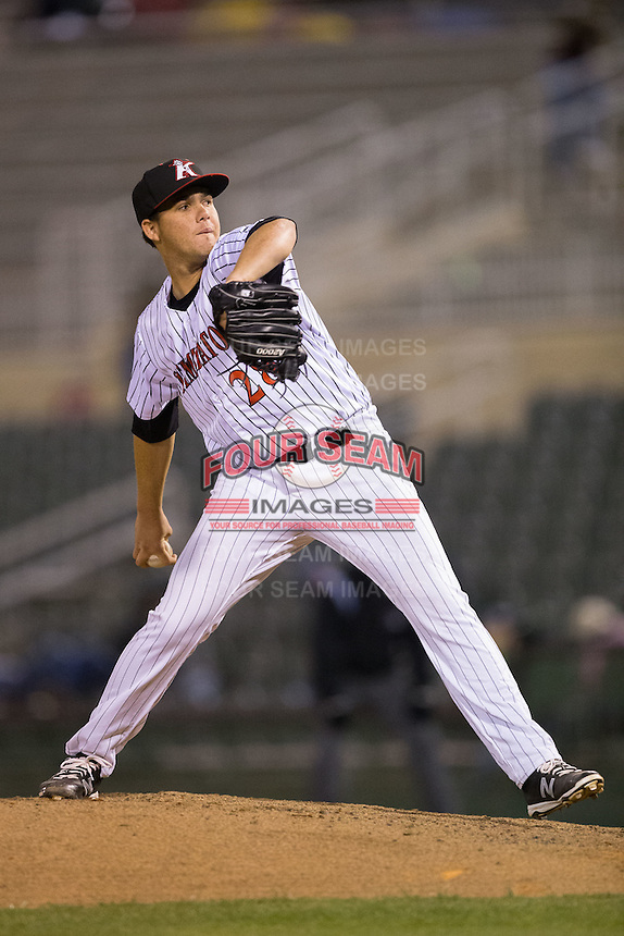 Kannapolis Intimidators relief pitcher Yelmison Peralta (28) in action against the Hickory Crawdads at Kannapolis Intimidators Stadium on April 9, 2016 in Kannapolis, North Carolina.  The Crawdads defeated the Intimidators 6-1 in 10 innings.  (Brian Westerholt/Four Seam Images)