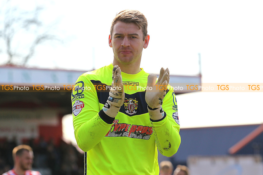 Jamie Jones of Stevenage thanks the fans at the final whistle during Stevenage vs AFC Wimbledon, Sky Bet League 2 Football at the Lamex Stadium on 30th April 2016