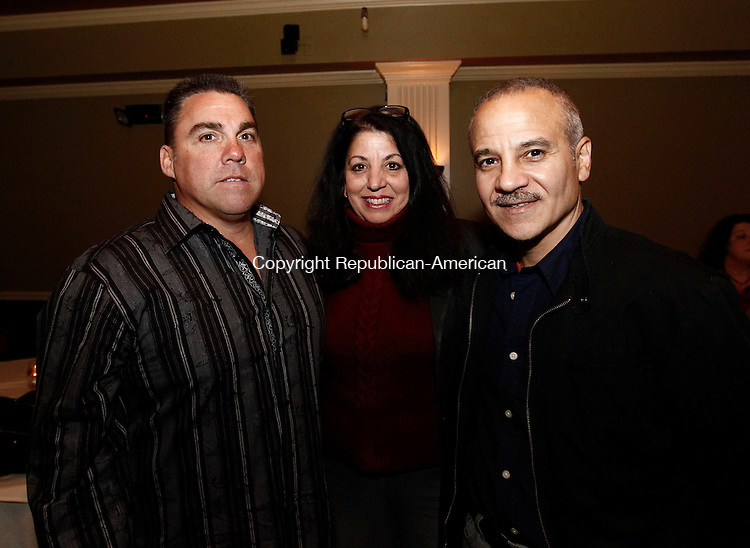 """Waterbury, CT- 01 November 2013-110113CM11-  SOCIAL MOMENTS--- Left to right, Joe Di Pace of Southington, Donna Bonsera, Founder Connecticut Dance Theatre and Joshua Angelus of Waterbury during the CT Dance Theatre """"Dance for Life"""" fundraiser at Braza Restaurant in Waterbury Friday night.  Christopher Massa Republican-American"""