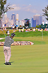 27 August 2009: David Toms hits his approach shot during the first round of The Barclays PGA Playoffs at Liberty National Golf Course in Jersey City, New Jersey.