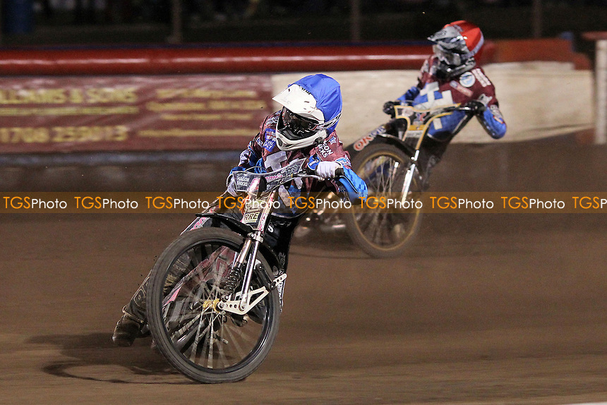 Heat 8: Kim Nilsson (red) and Rob Mear - Lakeside Hammers vs Coventry Bees - Sky Sports Elite League Speedway at Arena Essex Raceway, Purfleet - 10/09/12 - MANDATORY CREDIT: Gavin Ellis/TGSPHOTO - Self billing applies where appropriate - 0845 094 6026 - contact@tgsphoto.co.uk - NO UNPAID USE.