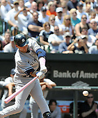 Baltimore, MD - May 10, 2009 -- New York Yankees shortstop Derek Jeter (2) flies out in the first inning against the Baltimore Orioles at Oriole Park at Camden Yards in Baltimore, MD on Sunday, May 10, 2009..Credit: Ron Sachs / CNP.(RESTRICTION: NO New York or New Jersey Newspapers or newspapers within a 75 mile radius of New York City)