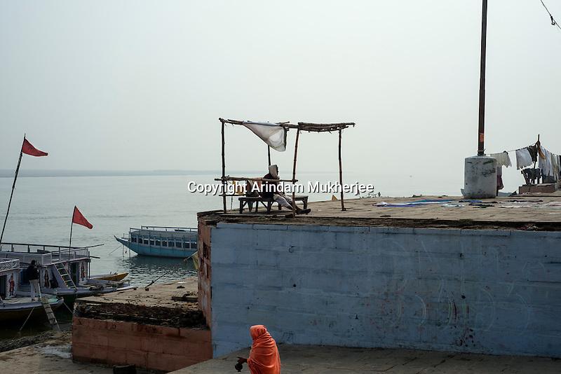 At a ghat in Varanasi, Uttar Pradesh, India.