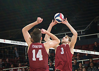 STANFORD, CA - March 2, 2019: Paul Bischoff, Kyler Presho at Maples Pavilion. The Stanford Cardinal defeated BYU 25-20, 25-20, 22-25, 25-21.