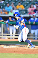Tennessee Smokies shortstop Zack Short (4) swings at a pitch during a game against the Mobile BayBears at Smokies Stadium on June 2, 2018 in Kodak, Tennessee. The BayBears defeated the Smokies 1-0. (Tony Farlow/Four Seam Images)