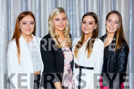 Michaela Bruton, Tara Casey, Rebecca O'Shea and Leah O'Shea  at the Dr Crokes GAA social in the Dromhall Hotel on Friday night