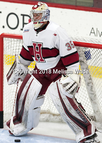 Michael Lackey (Harvard - 35) - The visiting Colgate University Raiders shut out the Harvard University Crimson for a 2-0 win on Saturday, January 27, 2018, at Bright-Landry Hockey Center in Boston, Massachusetts.