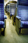 Blue seats in a train. London