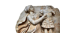 Close up of a Roman Sebasteion relief  sculpture of a Goddess inscribing a trophy, Aphrodisias Museum, Aphrodisias, Turkey.   Against a white background.<br /> <br /> A draped goddess strides forward to inscribe a military trophy to which is bound a kneeling female captive. The goddess is probably a personification such as Honour, Virtue or Courage.
