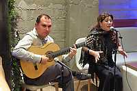 Flamenco guitarist and singer,  Paco Lara and Rosi Borja, performing in Ambrosia, restaurant, San Pedro de Alcantara, Malaga Province, Spain, 9th December 2015, 201512091861<br />