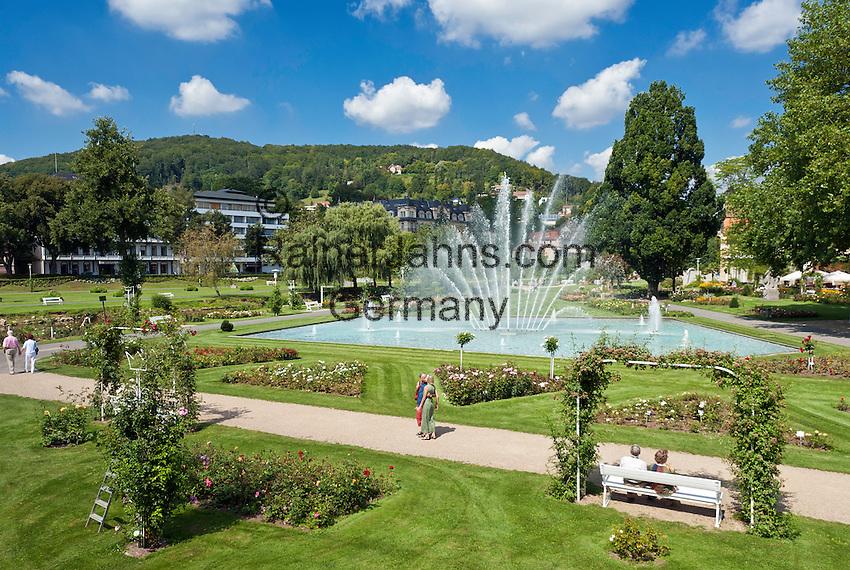 Germany, Bavaria, Lower Franconia, Bad Kissingen: Rose Garden and fountain   Deutschland, Bayern, Unterfranken, Bad Kissingen: Rosengarten mit Wasserfontaene