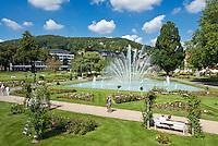 Germany, Bavaria, Lower Franconia, Bad Kissingen: Rose Garden and fountain | Deutschland, Bayern, Unterfranken, Bad Kissingen: Rosengarten mit Wasserfontaene