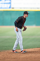 Delmarva Shorebirds shortstop Ryan Mountcastle (4) on defense against the Hickory Crawdads at L.P. Frans Stadium on June 18, 2016 in Hickory, North Carolina.  The Crawdads defeated the Shorebirds 1-0 in game one of a double-header.  (Brian Westerholt/Four Seam Images)
