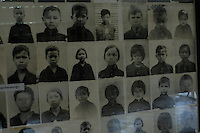 Pictures of torture victims who were executed in S-21 or Tuol Sleng prison in Pnom Phen in Cambodia. The Cambodian Genecide of 1975 - 1979 where over 1.7 million were executed outside Phnom Penh, Cambodia, 30 October 2007.  Kaing Guek Eav know as duch the commander of the torture house known as S-21 or Tuol Sleng prison was put on trial yesterday 21 Nov 2007 after 28 years.