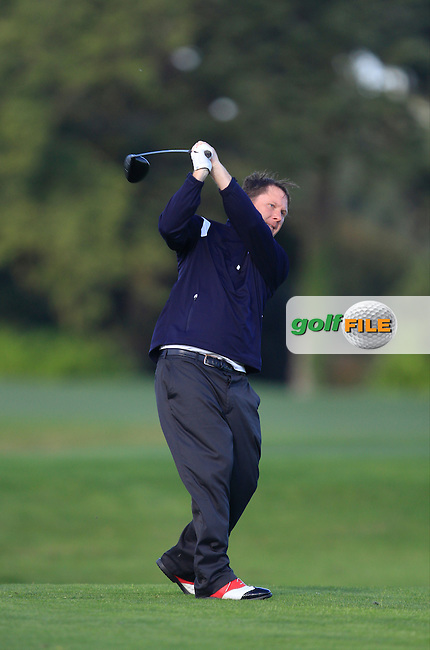 Geoffrey Loughrey (Roganstown G.C) on the 13th tee during Round 1 of The Cassidy Golf 103rd Irish PGA Championship in Roganstown Golf Club on Thursday 10th October 2013.<br /> Picture:  Thos Caffrey / www.golffile.ie