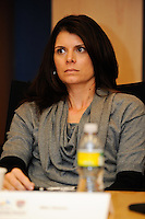 former U.S. Women's National Team member Mia Hamm listens during a meeting of members of the USA Bid Committee for the FIFA World Cup in New York, NY on December 15, 2009.