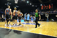 The Breakers huddle during the Australian National Basketball League match between Skycity Breakers and Illawarra Hawks at TSB Bank Arena in Wellington, New Zealand on Thursday, 14 February 2019. Photo: Dave Lintott / lintottphoto.co.nz