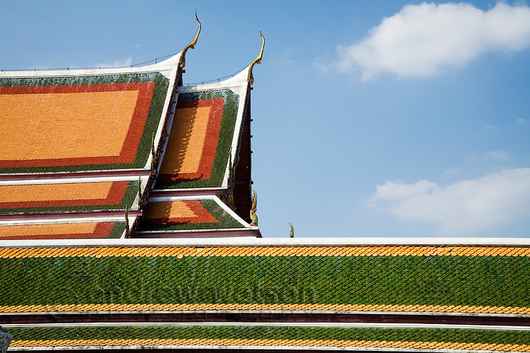 Traditional architecture and colour in the rooftops of Wat Arun, Bangkok, THAILAND