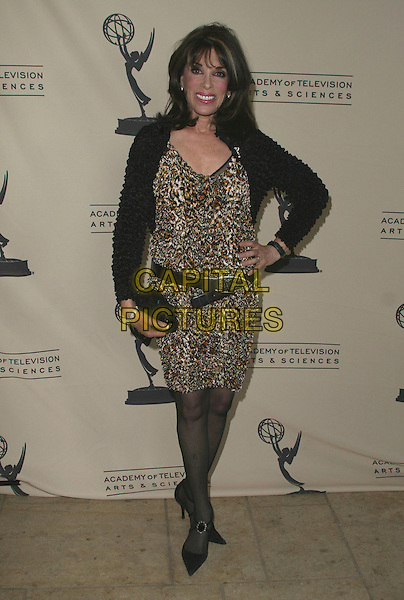 KATE LINDER.Daytime Emmy Nominee Reception held at French 75 Warner Music Building, Burbank, California, USA..June 5th, 2007.full length black jacket leopard print dress belt clutch purse hand on hip .CAP/ADM/CH.©Charles Harris/AdMedia/Capital Pictures