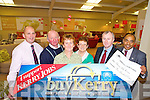 Noreen McKenna, Cahirfilane, Castlemaine, third from left, this weeks Buy Kerry winner pictured with l-r Brendan Kennelly, Kerry's Eye, John McKenna, Hannah Mai Harris, Moriarty's of Killorglin, Mike Moriarty, Moriarty's of Killorglin and Shaz Malik, Kerry's Eye on Tuesday.