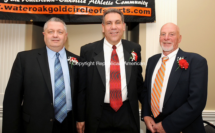 WATERTOWN,  CT, 01 MAY  2012-050212JS15- The Water-Oak Gold Circle of Sports honored this years recipients, from left, David Granger, Richard Jacovich and Frank Jusdon during their 35th annual awards dinner Tuesday at the Grand Oak Villa in Watertown. .Jim Shannon Republican-American