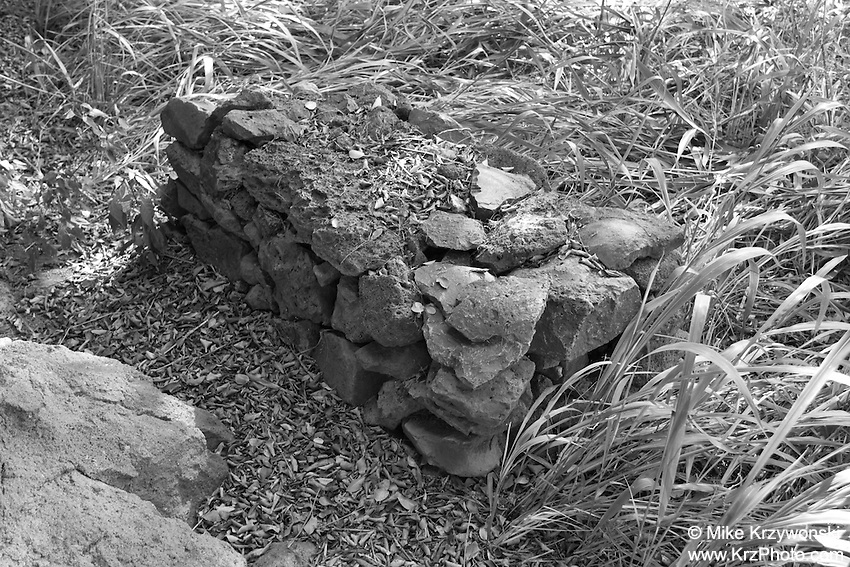 Stone altar outside of burial cave above Waimea Bay, North Shore, Oahu, Hawaii