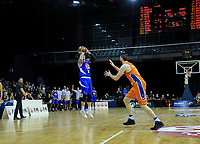 Lindsay Tait attempts a three-pointer with seconds left of the national basketball league final  between Wellington Saints and Southland Sharks at TSB Bank Arena in Wellington, New Zealand on Sunday, 5 August 2018. Photo: Dave Lintott / lintottphoto.co.nz