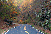 The Blue Ridge parkway road through the mountains for scenic views.