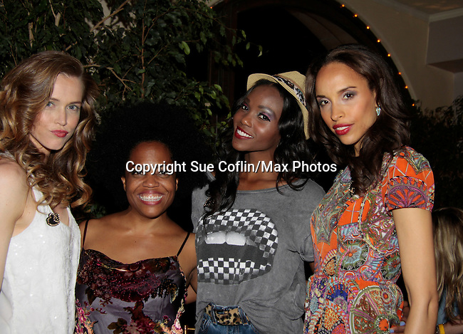 Models - Stephanie Voelckers - Rhonda Ross - Shannone Holt - Valerie Roy pose with Another World Rhonda Ross who sings at Hearts of Gold - 45 A Different Kind of Fund Raiser on July 10, 2014 at Manhattan Penthouse, New York City, New Yor (Photo by Sue Coflin/Max Photos)