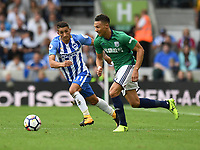Brighton &amp; Hove Albion's Anthony Knockaert (left) battles with West Bromwich Albion's Kieran Gibbs (right) <br /> <br /> Brighton 3 - 1 West Bromwich<br /> <br /> Photographer David Horton/CameraSport<br /> <br /> The Premier League - Brighton and Hove Albion v West Bromwich Albion - Saturday 9th September 2017 - The Amex Stadium - Brighton<br /> <br /> World Copyright &copy; 2017 CameraSport. All rights reserved. 43 Linden Ave. Countesthorpe. Leicester. England. LE8 5PG - Tel: +44 (0) 116 277 4147 - admin@camerasport.com - www.camerasport.com