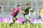 Mark Ryan Kerry in action against Finian Ó Laoi  Galway in the All Ireland Minor Football Final in Croke Park on Sunday.