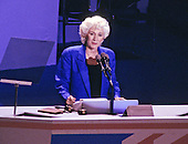 Oscar Award-winning actress Olympia Dukakis, makes remarks supporting her cousin, Governor Michael Dukakis (Democrat of Massachusetts), the 1988 Democratic Party nominee for President of the United States, at the 1988 Democratic National Convention in the Omni Coliseum in Atlanta, Georgia on July 21, 1988.<br /> Credit: Arnie Sachs / CNP