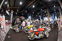 VALENCIA, SPAIN - NOVEMBER 7: Royal Enfield stand during DOS RODES at Feria Valencia on November 7, 2015 in Valencia, Spain