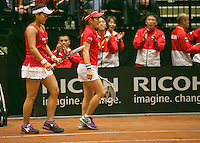 The Netherlands, Den Bosch, 20.04.2014. Fed Cup Netherlands-Japan, Ozaki/Aoyama<br /> Photo:Tennisimages/Henk Koster