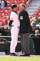 May 5th 2008:  Manager Torey Lovullo of the Buffalo Bisons, Class-AAA affiliate of the Cleveland Indians, argues with home plate umpire Bobby Price during a game at Dunn Tire Park in Buffalo, NY.  Photo by Mike Janes/Four Seam Images
