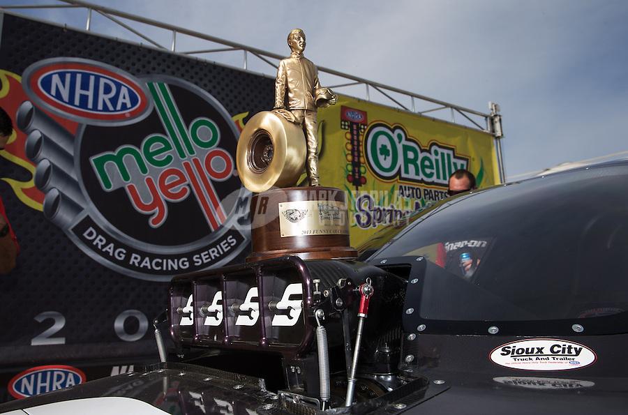 Apr. 28, 2013; Baytown, TX, USA: Detailed view of the Wally trophy won by NHRA funny car driver Cruz Pedregon after winning the Spring Nationals at Royal Purple Raceway. Mandatory Credit: Mark J. Rebilas-