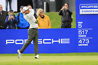 Xander Schauffele (USA) on the 18th tee during the 1st round at the Porsche European Open, Green Eagles Golf Club, Luhdorf, Winsen, Germany. 05/09/2019.<br /> Picture Fran Caffrey / Golffile.ie<br /> <br /> All photo usage must carry mandatory copyright credit (© Golffile | Fran Caffrey)