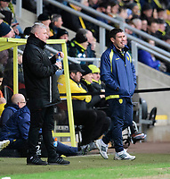 Blackpool's manager Terry McPhillips, left, and Burton Albion manager Nigel Clough<br /> <br /> Photographer Chris Vaughan/CameraSport<br /> <br /> The EFL Sky Bet League One - Burton Albion v Blackpool - Saturday 16th March 2019 - Pirelli Stadium - Burton upon Trent<br /> <br /> World Copyright &copy; 2019 CameraSport. All rights reserved. 43 Linden Ave. Countesthorpe. Leicester. England. LE8 5PG - Tel: +44 (0) 116 277 4147 - admin@camerasport.com - www.camerasport.com