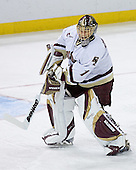 Cory Schneider 1 of Boston College clears the puck. The Eagles of Boston College defeated the Falcons of Bowling Green State University 5-1 on Saturday, October 21, 2006, at Kelley Rink of Conte Forum in Chestnut Hill, Massachusetts.<br />