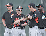 Ichiro Suzuki, Christian Yelich, Marcell Ozuna (Marlins),<br /> FEBRUARY 24, 2014 - MLB :<br /> Miami Marlins spring training camp in Jupiter, Florida, United States. (Photo by AFLO)