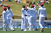 9th December 2017, Seddon Park, Hamilton, New Zealand; International Test Cricket, 2nd Test, Day 1, New Zealand versus West Indies;  Players celebrate the wicket of Latham