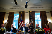 U.S. President Donald Trump speaks during a lunch meeting with Republican lawmakers, in the Cabinet Room at the White House in Washington, D.C., U.S., on Tuesday, June 26, 2018. From left: Representative Robert Aderholt, a Republican from Alabama, Senator Richard Shelby, a Republican from Alabama, Trump, Representative Rodney Frelinghuysen, a Republican from New Jersey, and Senator Lisa Murkowski, a Republican from Alaska. <br /> Credit: Al Drago / Pool via CNP