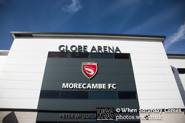 Morecambe 0 Plymouth Argyle 2, 25/03/2016. Globe Arena, League 2. An exterior view of the Globe Arena before Morecambe hosted Plymouth Argyle in a League 2 fixture. The stadium was opened in 2010 and replaced Morecambe's traditional home of Christie Park which had been their home since 1921, the year after their foundation. Plymouth won this fixture by 2-0 watched by 2,081 spectators, in a game delayed by 30 minutes due to traffic congestion affecting travelling Argyle fans.  Photo by Colin McPherson.