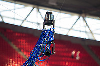 Ribbons get caught up in the Spidercam TV camera during the celebrations <br /> <br /> Photographer Craig Mercer/CameraSport<br /> <br /> Emirates FA Cup Final - Chelsea v Manchester United - Saturday 19th May 2018 - Wembley Stadium - London<br />  <br /> World Copyright &copy; 2018 CameraSport. All rights reserved. 43 Linden Ave. Countesthorpe. Leicester. England. LE8 5PG - Tel: +44 (0) 116 277 4147 - admin@camerasport.com - www.camerasport.com