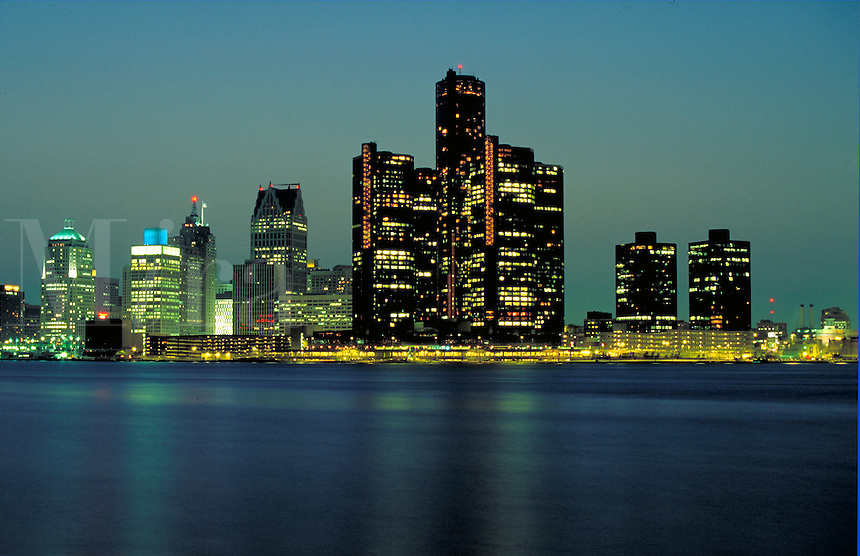 Night view of skyline of Detroit, Michigan. Detroit Michigan USA downtown.