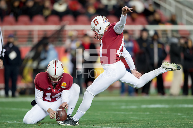 SANTA CLARA, CA - DECEMBER 30, 2014: Jordan Williamson during Stanford's game against Maryland in the 2014 Foster Farms Bowl.  The Cardinal defeated the Terrapins 45-21.